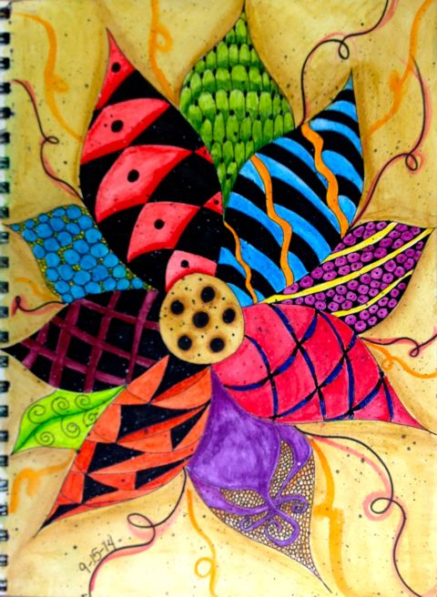 4 - Day 15 - Zentangle & Inktense