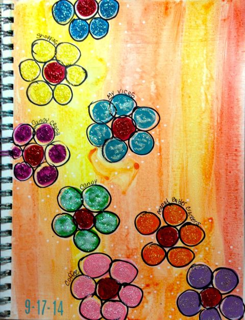 Day 17 Dauber Flowers with Stickles over watercolor base